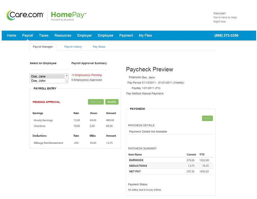 homepay payroll dashboard