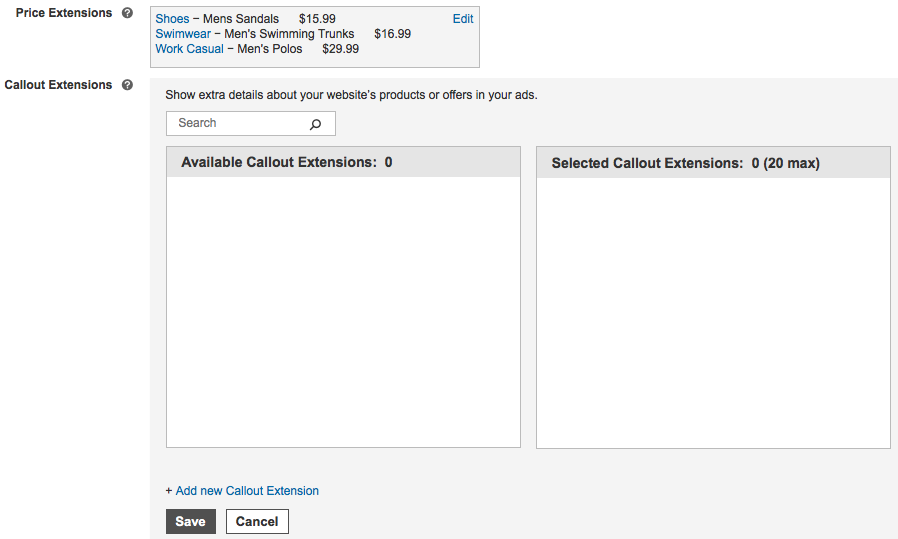 Microsoft Advertising campaign pricing extension