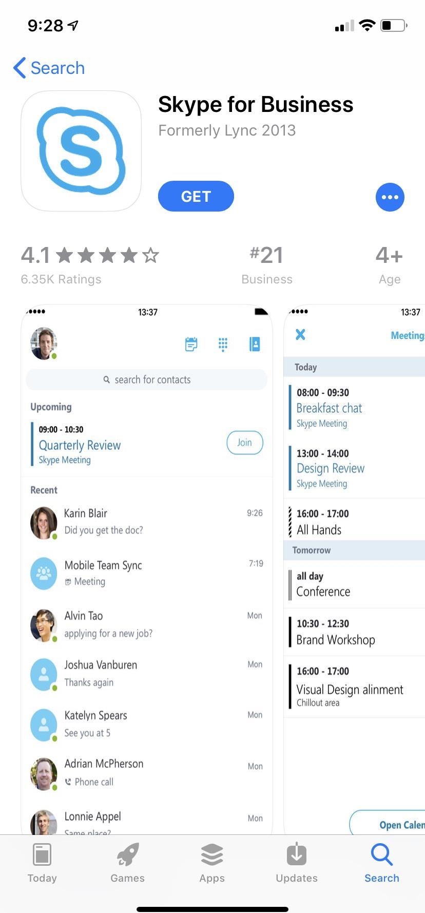 Skype for Business app