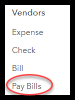 select pay bills located below the Vendors column