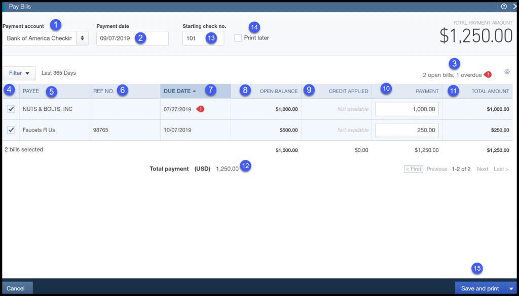 quickbooks online bill payment dashboard