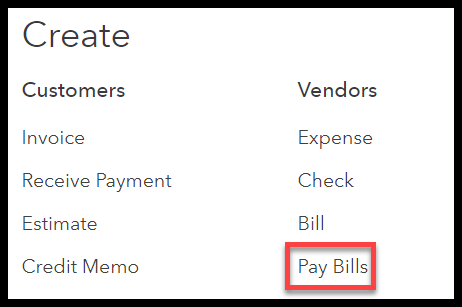 Pay Bills button in QuickBooks Online