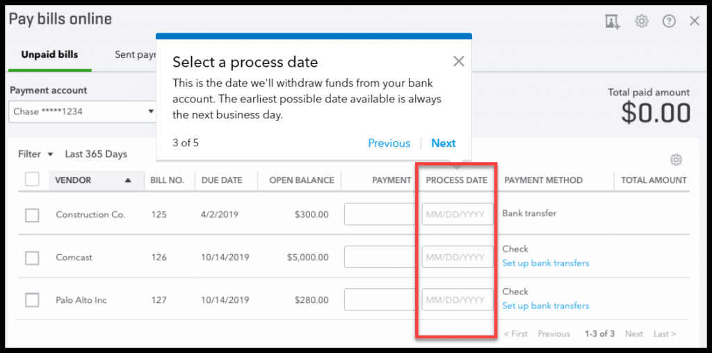 Selecting a Payment Process Date for Each Bill