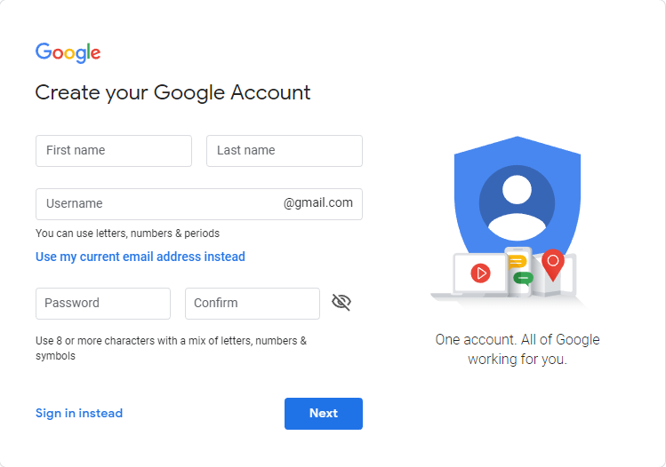 registration screen for a google account