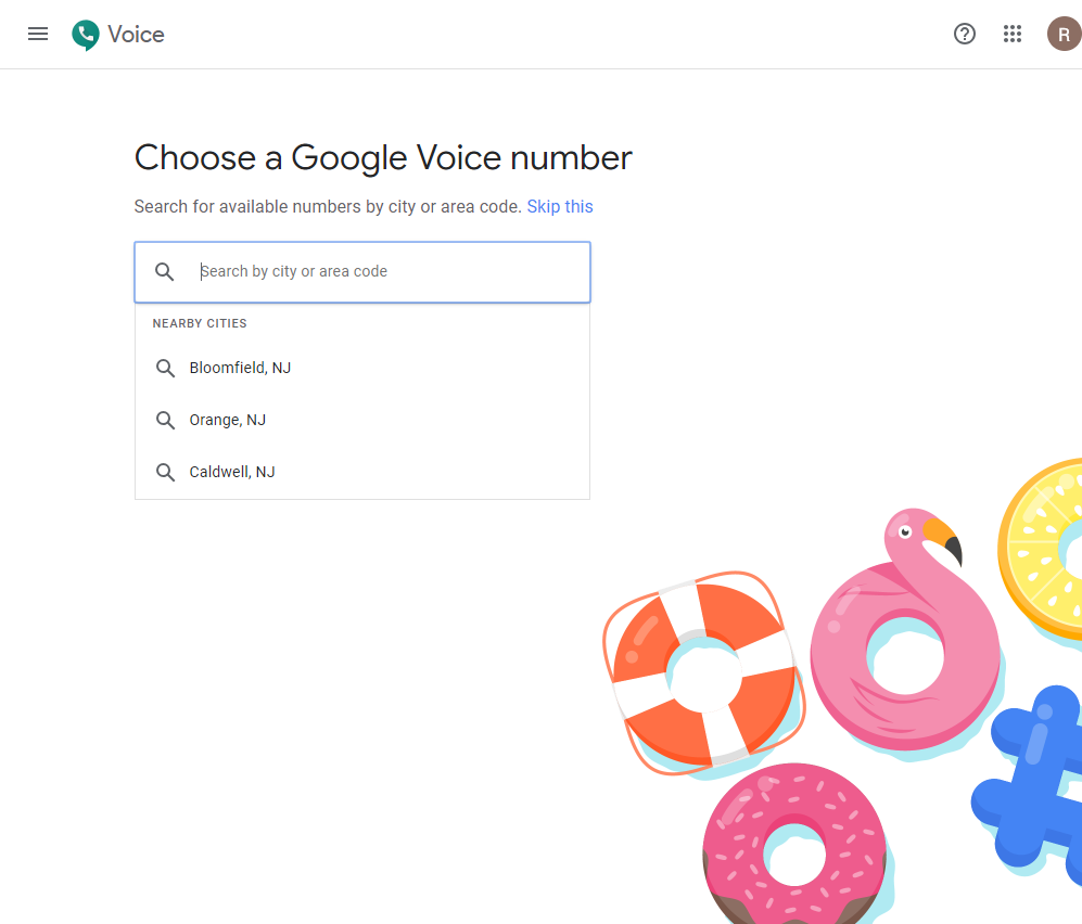 choosing your own city or area code in google voice