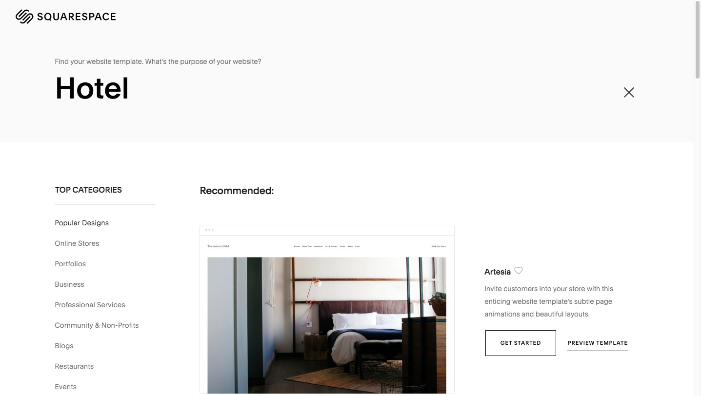 Example of A Squarespace Search for Hotel Templates