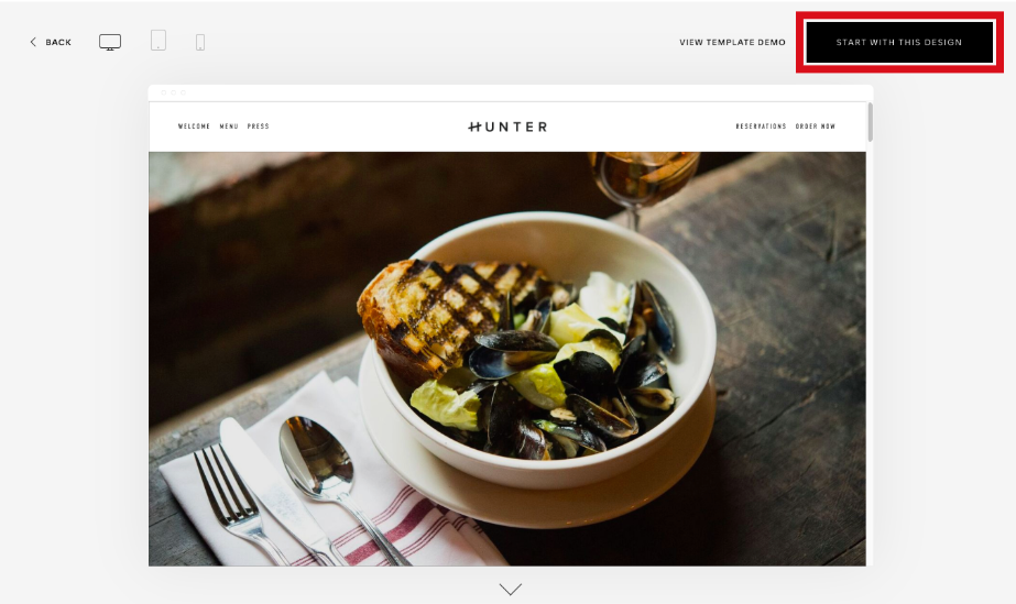 highlight of how to select squarespace template