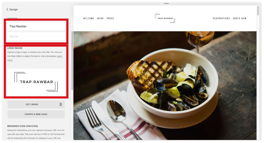 Adding Site Title, Tag Line, and Logo on Squarespace