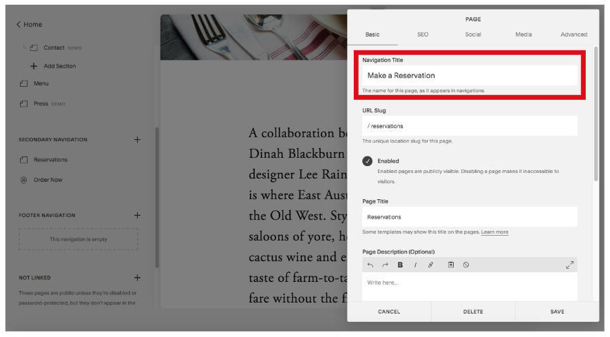 how to update a page title in squarespace