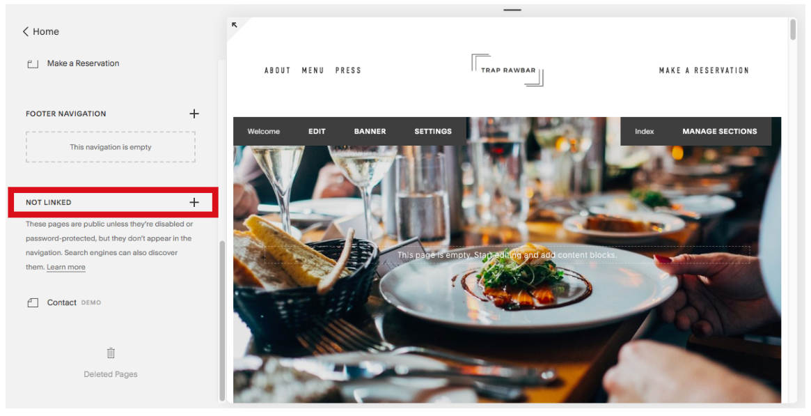 How to Add an Unlinked Page in Squarespace