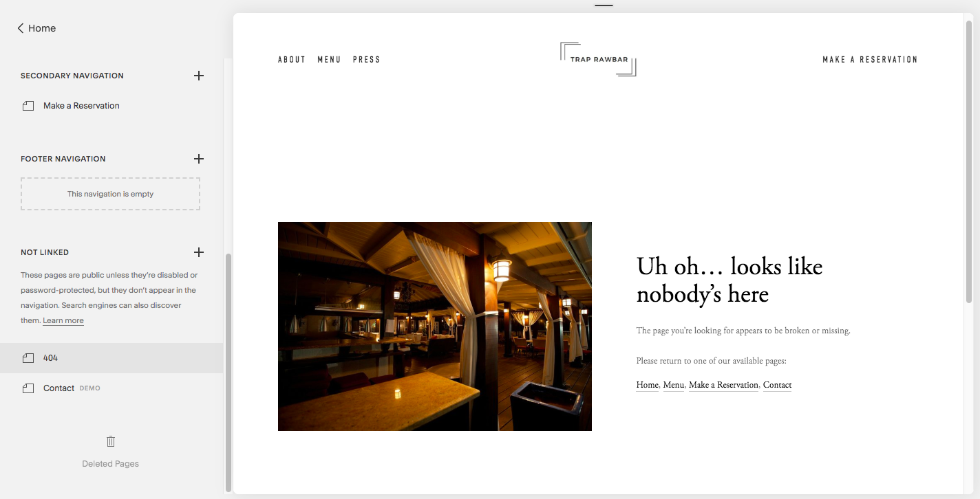 Example of a Custom 404 Page on Squarespace