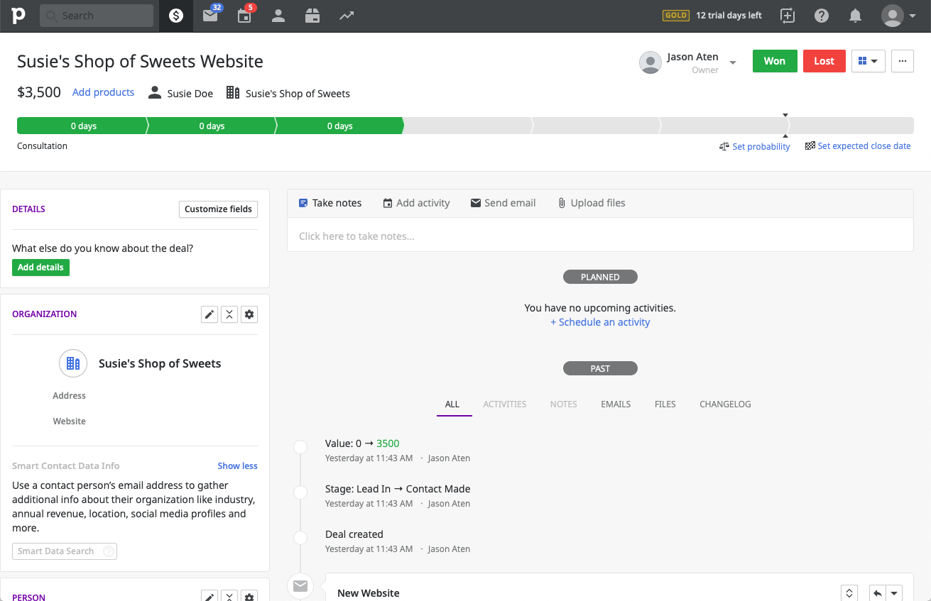 Pipedrive CRM contact profile