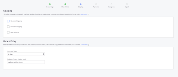 BigCommerce shipping and return policy screenshot