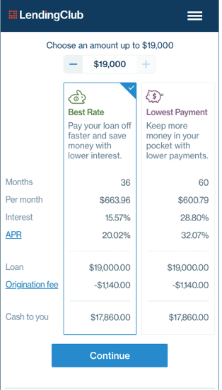 LendingClub sample offer