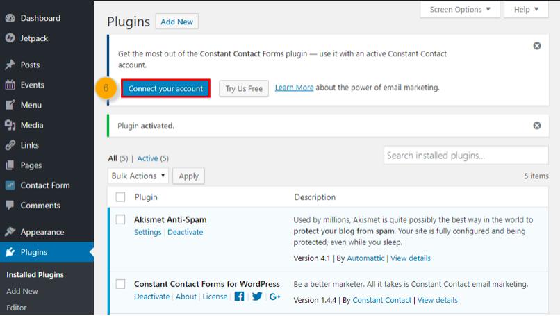 constant contact WordPress plugin