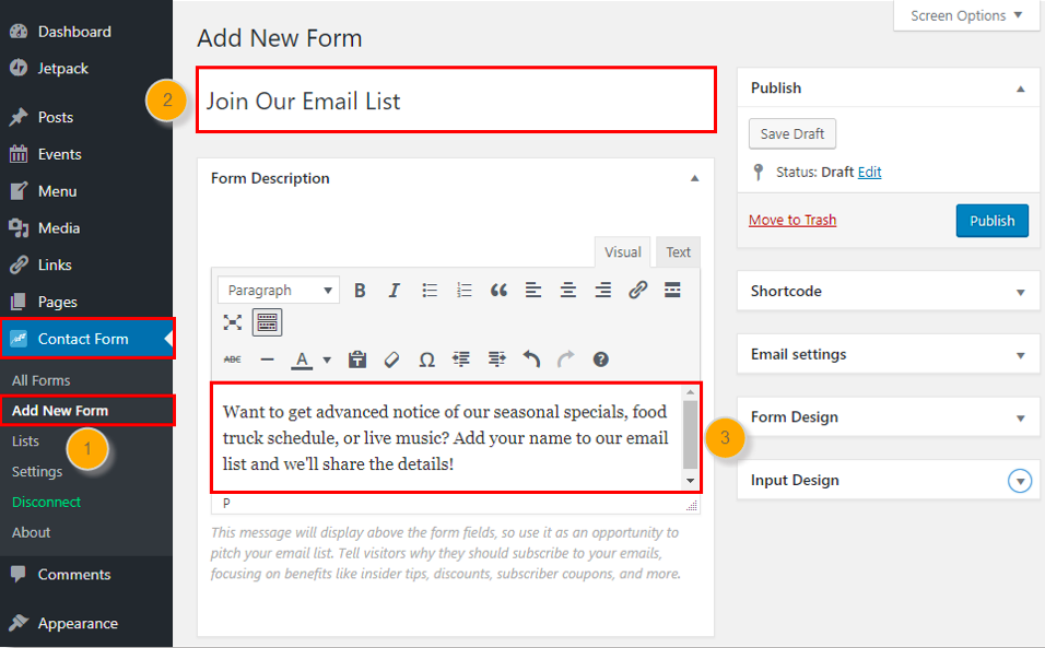Constant Contact email sign-up