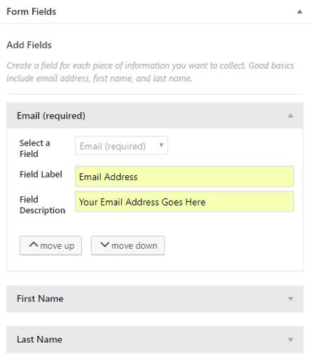 Constant Contact default form fields