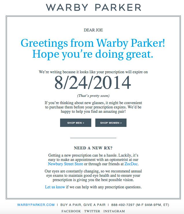 Campagna antigoccia Warby Parker