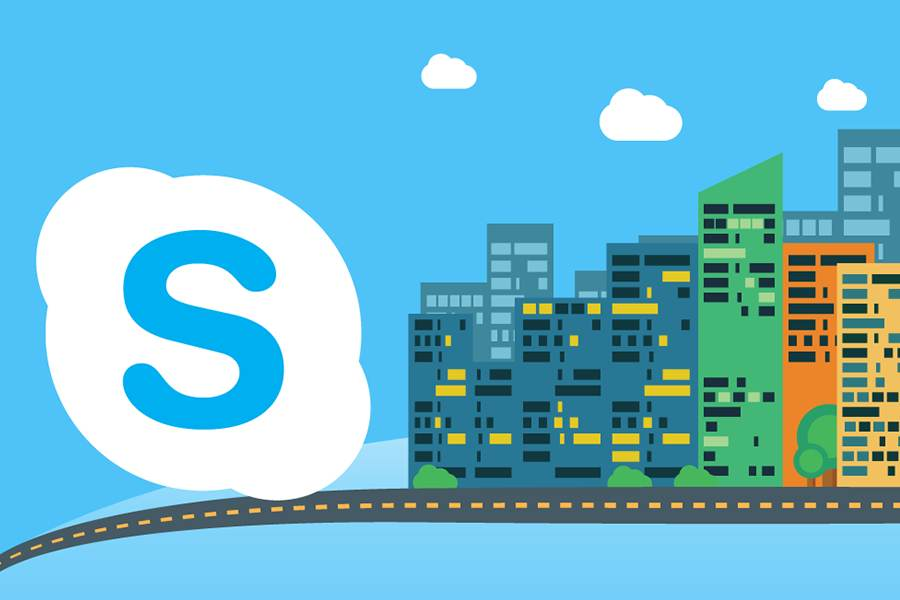 Skype icon with skyscrapers graphics