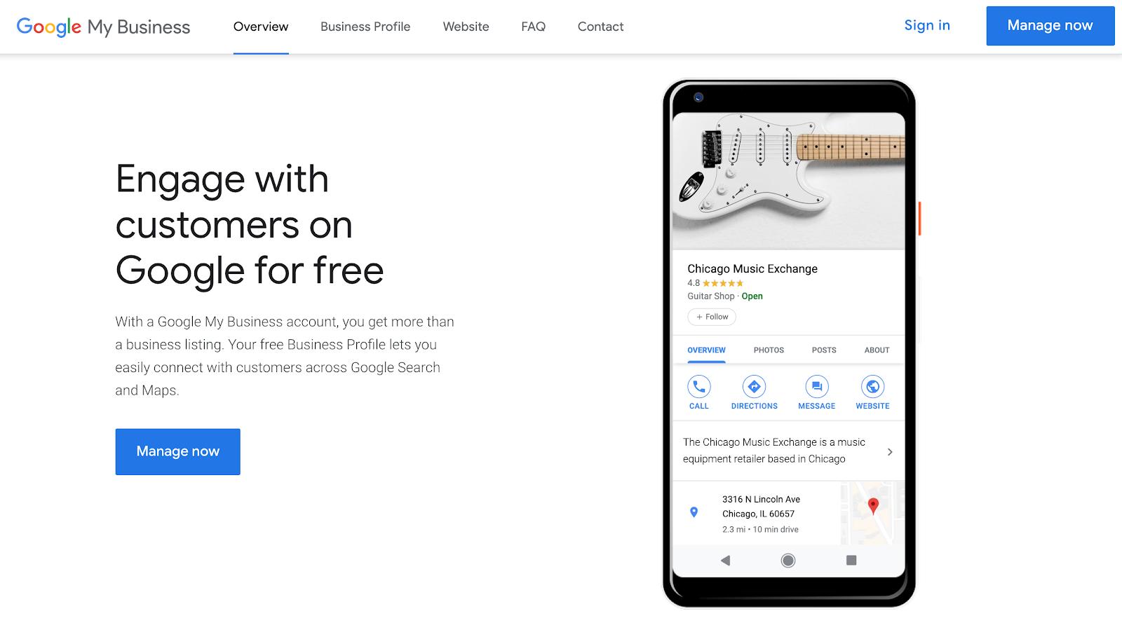 Screenshot of Google My Business homepage