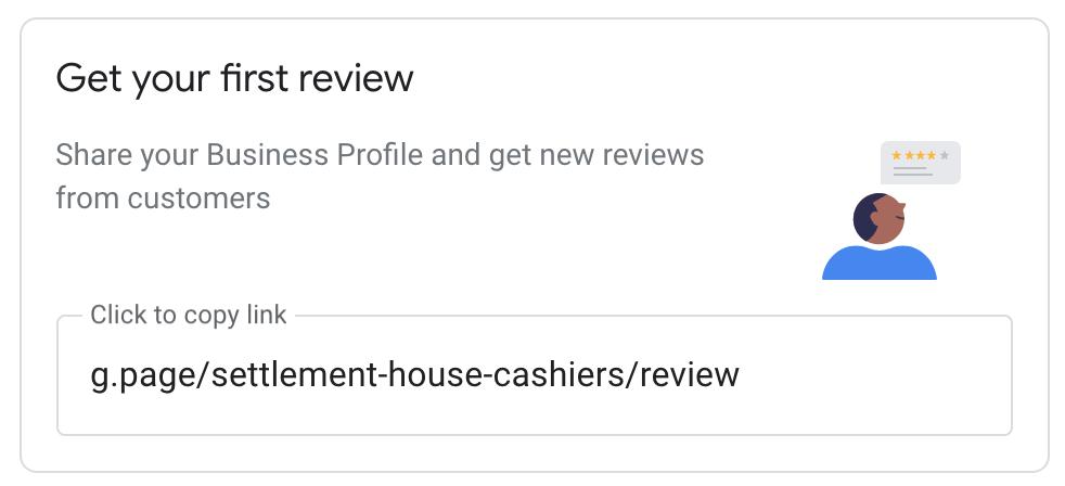 Screenshot of Google reviews link