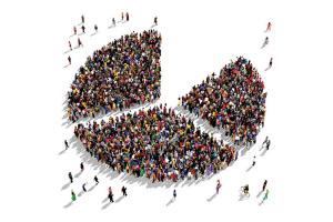 Three groups of people representing market segments