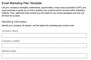 Email Marketing Plan Template