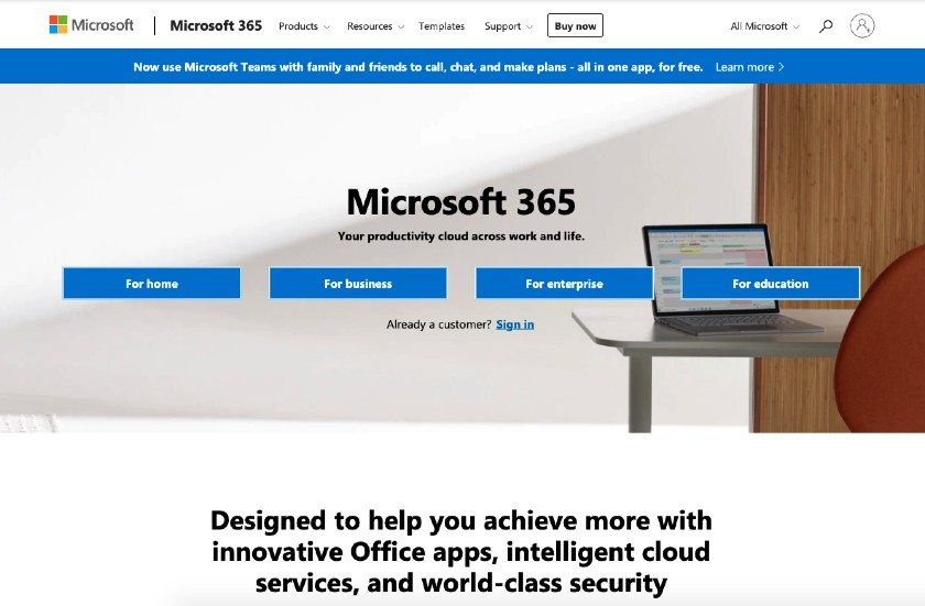 Microsoft 365 web page
