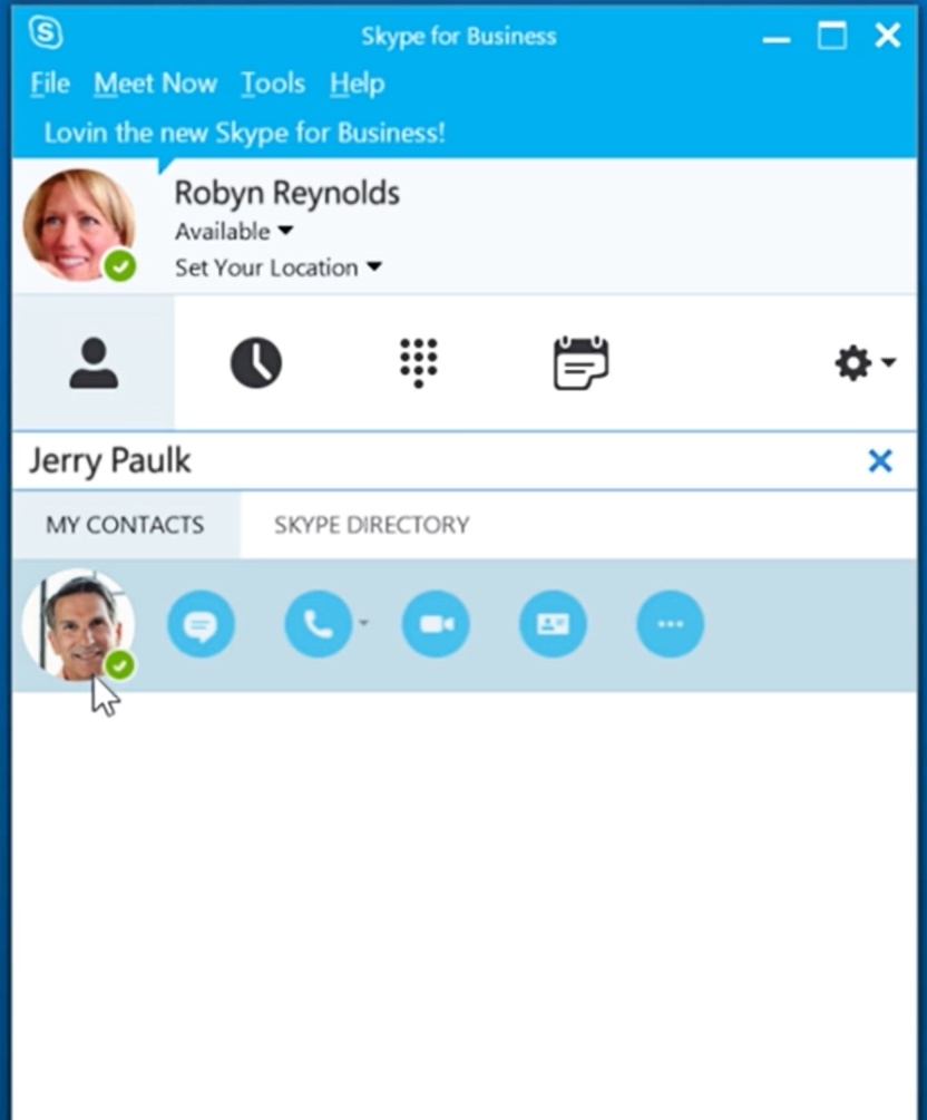Skype for Business contact search