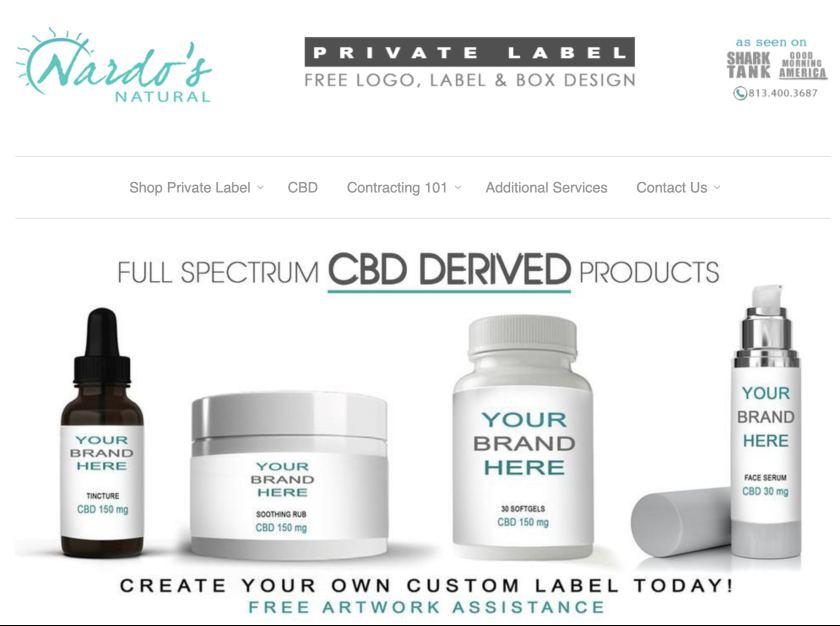 Screenshot of Nardo's Natural Private Label Cosmetics