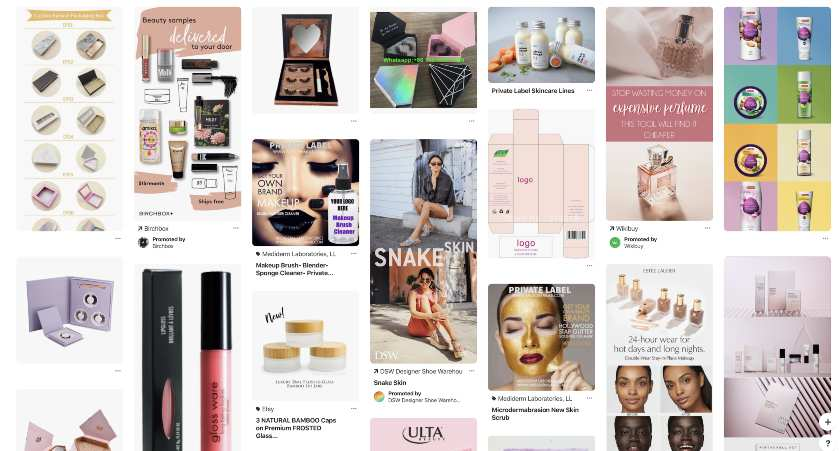 Screenshot of Private Label Cosmetic Ideas and Inspiration on Pinterest