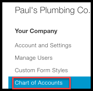 Chart of Accounts in QuickBooks Online