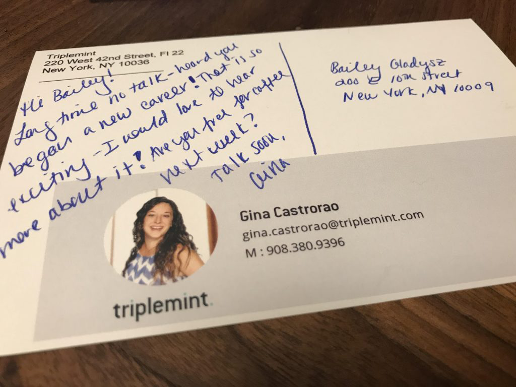 an example of a handwritten thank you note from Gina Castrorao
