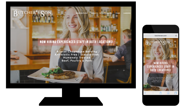 Example of responsive web design from Butcher's Son