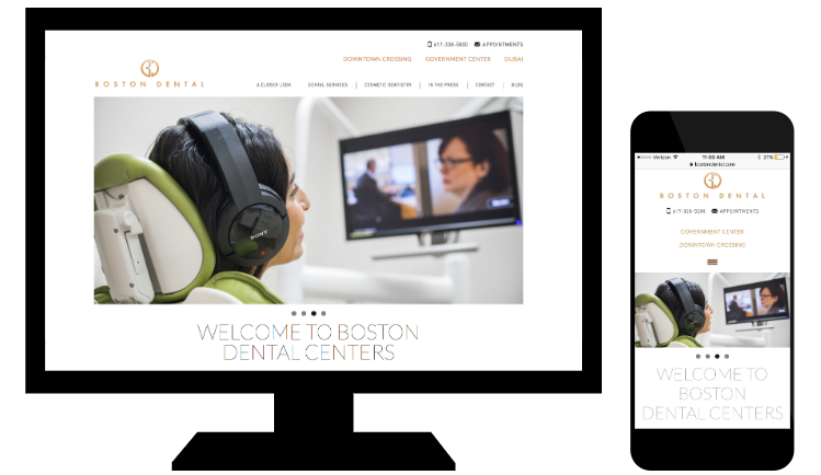 Example of responsive web design from Boston Dental