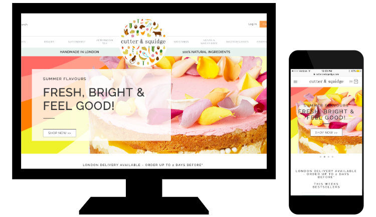 Esempio di responsive web design di Cutter & Squidge