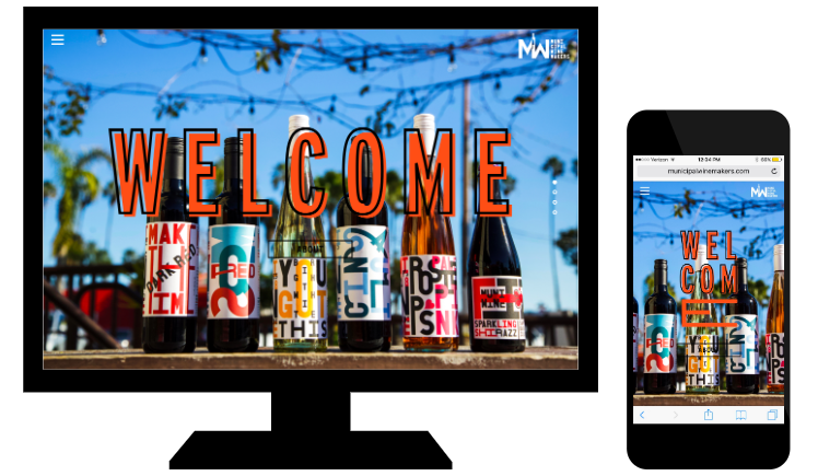 Example of responsive web design from Municipal Wine Makers