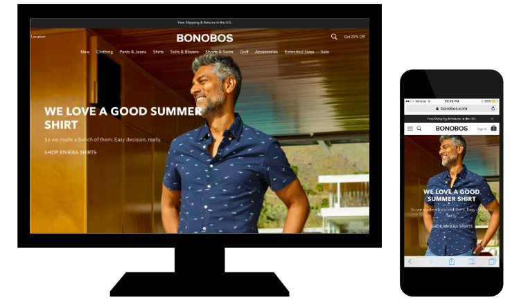 Example of responsive web design from Bonobos