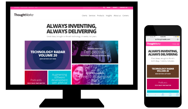 Example of responsive web design from ThoughtWorks