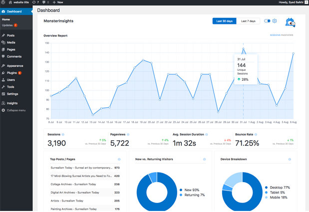 MonsterInsights - google analytics wordpress plugin