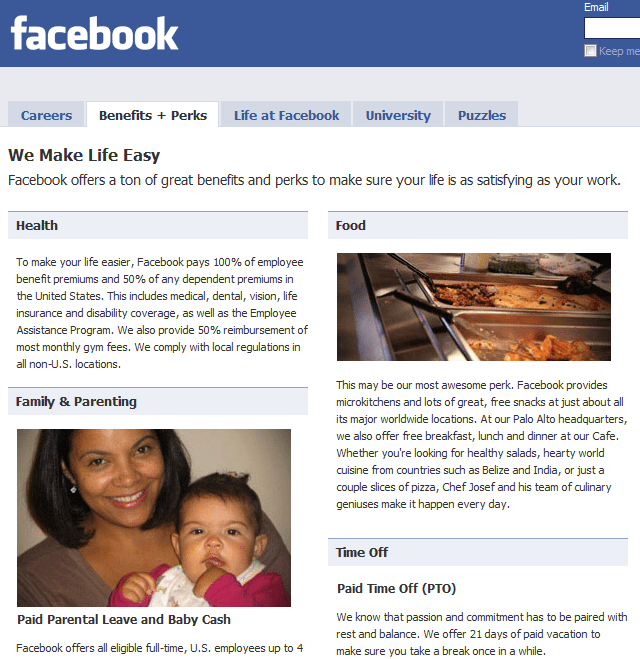 Facebook Careers page