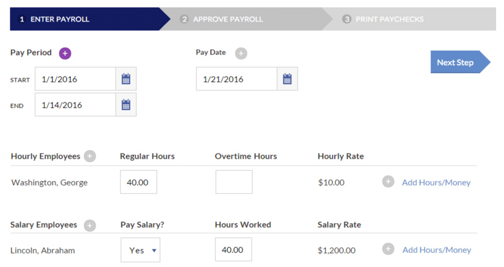 Patriot payroll processing screenshot