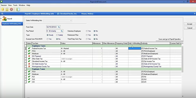 Payroll4Free payroll processing screenshot