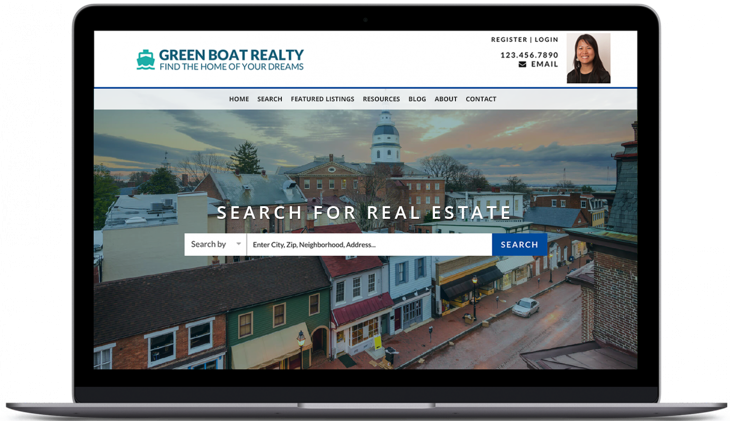 A laptop showing Placester Real Estate Website Builder