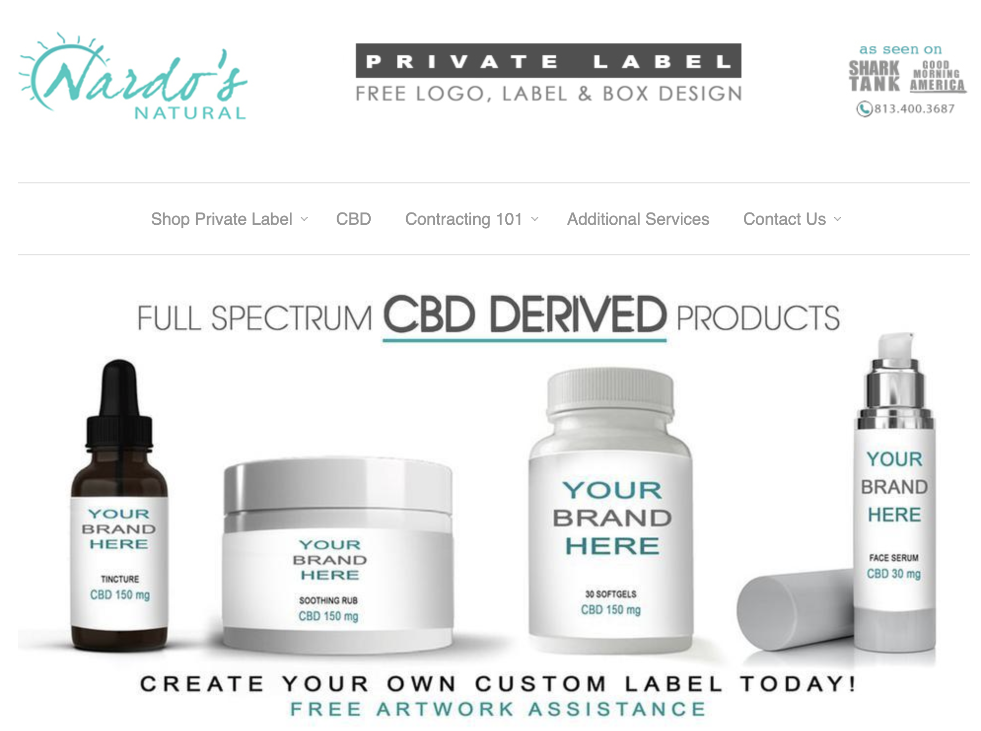 Nardo's Natural private label cosmetic packaging options