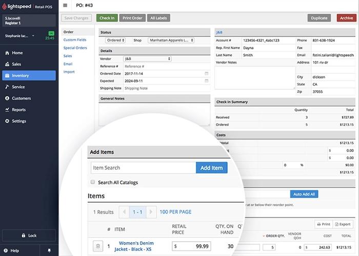 Lightspeed Retail inventory management dashboard