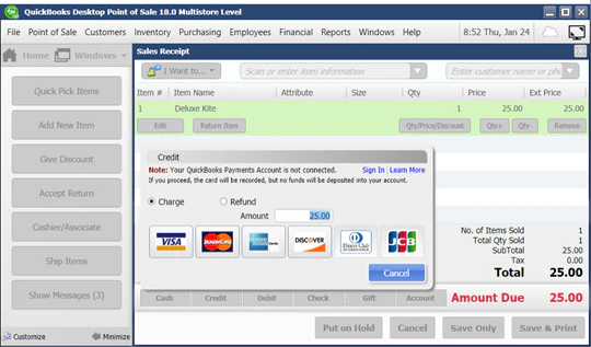 QuickBooks POS payment processing dashboard