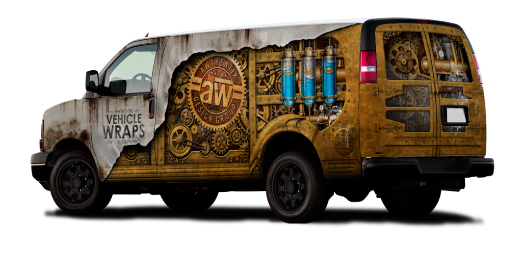 a van with a detailed steampunk vehicle wrap