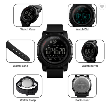 Men's black smart sports watch from different angles