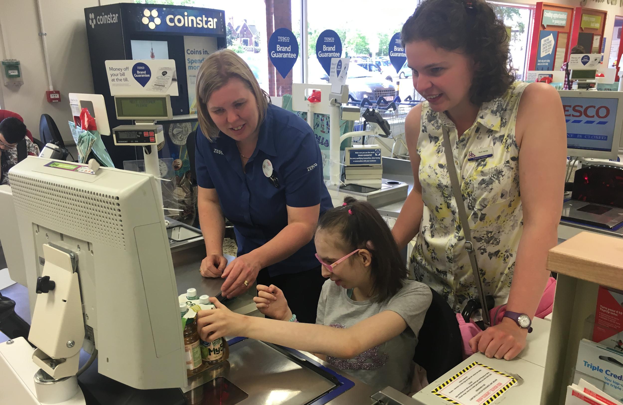 cashier training at a supermarket